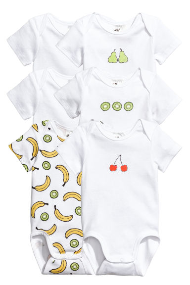 6-pack bodysuits - White/Fruit - Kids | H&M 1